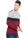 Grey Melange/Black/Maroon Men Full Sleeves Round Neck Color Block T-Shirt