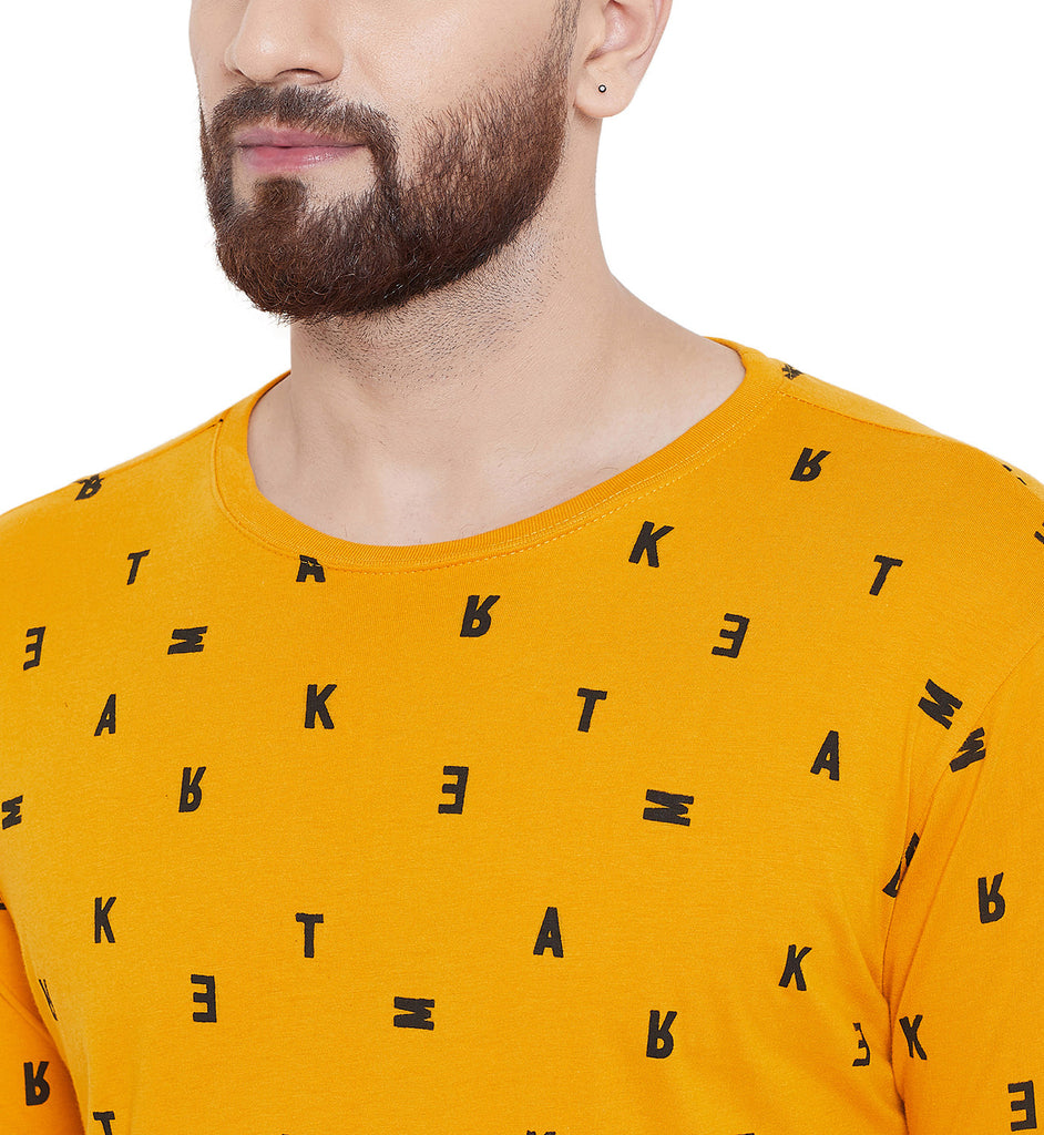 Gritstones Yellow Printed Round Neck Full Sleeves T-Shirt