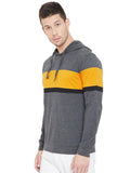 Anthramelange/Yellow /Black Men Full Sleeves Hooded T-Shirt
