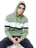 Moss Green/White/Black Men Full Sleeves Hooded T-Shirt