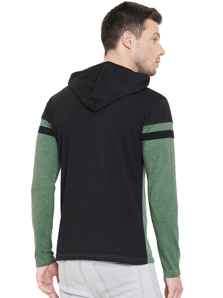 Black/Green Men Full Sleeves Hooded T-Shirt