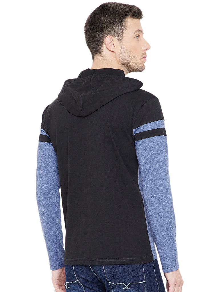 Black/Sky Blue Men Full Sleeves Hooded T-Shirt