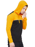 Yellow/White/Black Men Full Sleeves Hooded T-Shirt