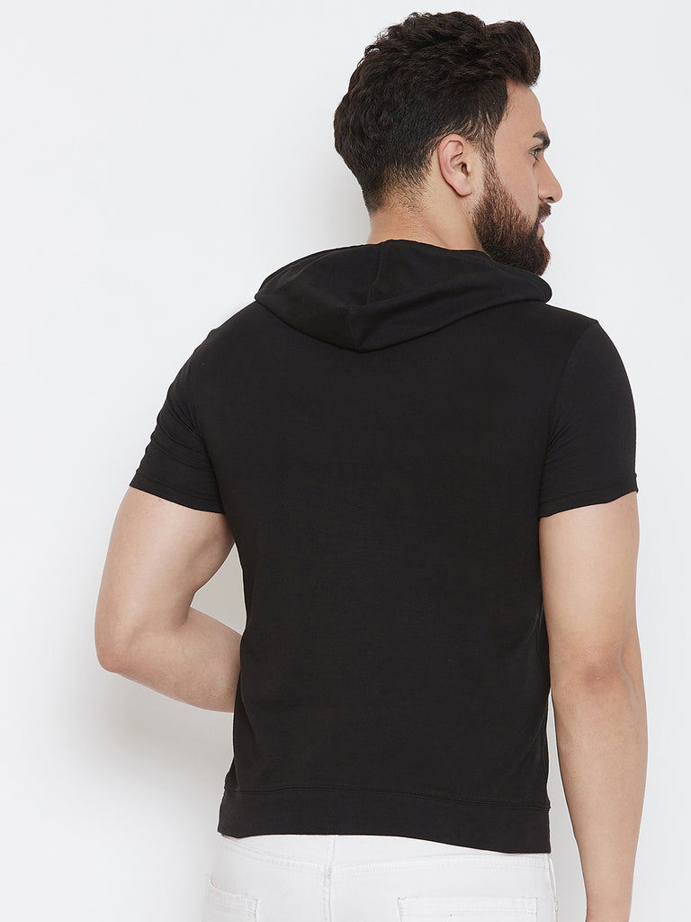 Black Printed Half Sleeve Hooded T-Shirt