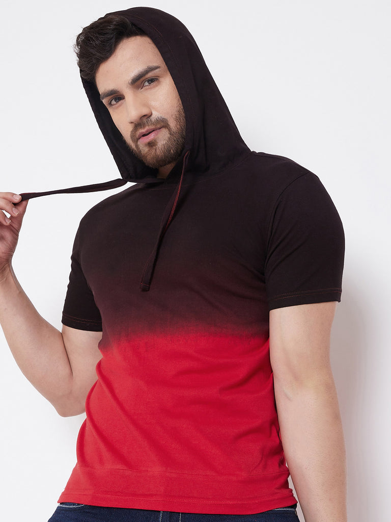 Red/Black Men's Cotton Tie & Dye Hooded T-Shirt