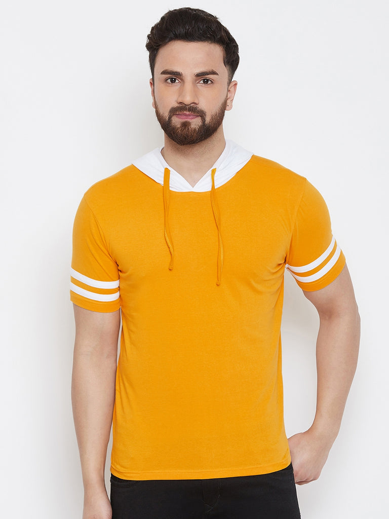 Yellow/White Half Sleeve Hooded T-Shirt