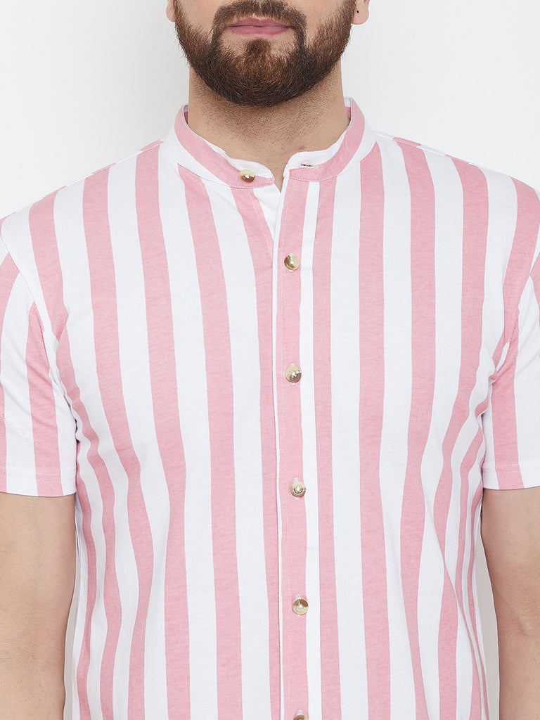 White/Light Pink Half Sleeve Striper Chinese Collar Knitted Shirt