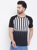 White/Black Men's Cotton Tie & Dye Half Sleeves Printed T-Shirt