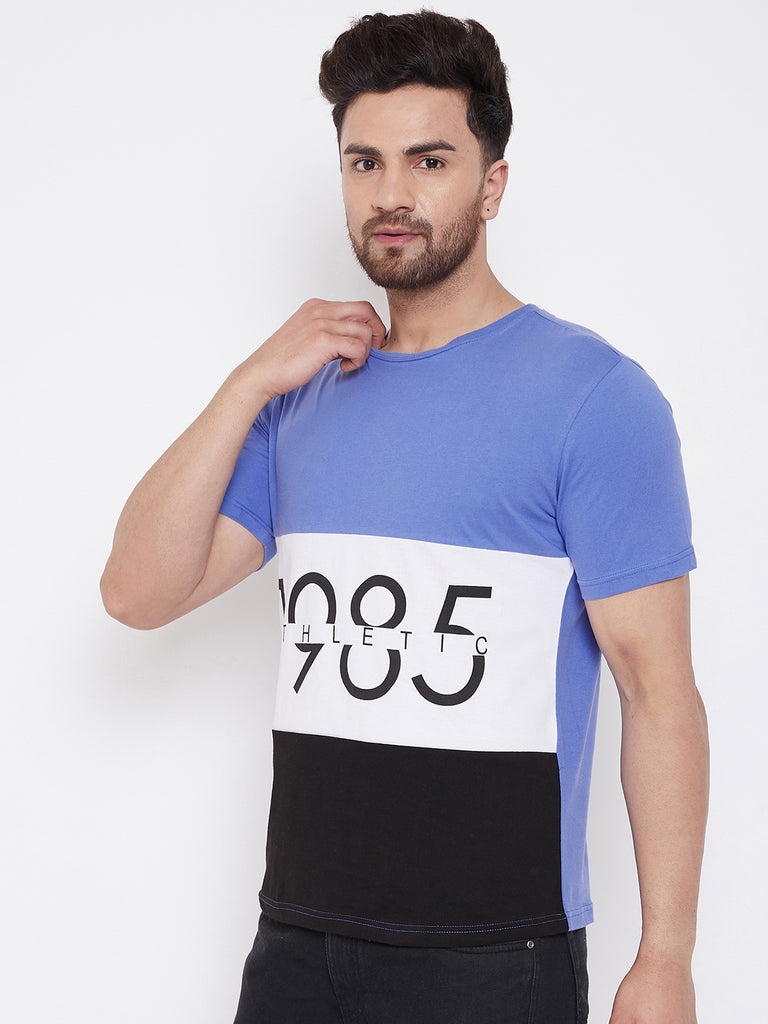 Blue/White/Black Printed Men's Half Sleeves Round Neck T-Shirt