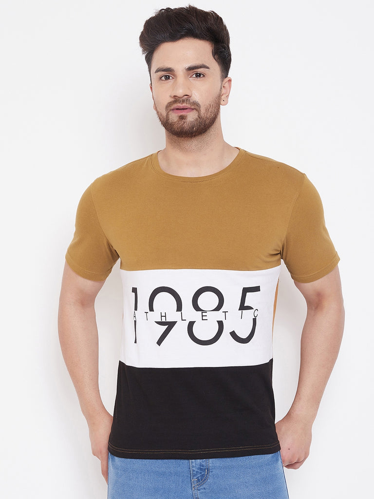Khaki/White/Black Printed Men's Half Sleeves Round Neck T-Shirt