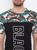 Black/Army Camo Print Men's Half Sleeves Round Neck T-Shirt