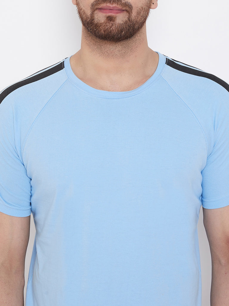 Sky Blue Printed Men's Half Sleeves Round Neck T-Shirt