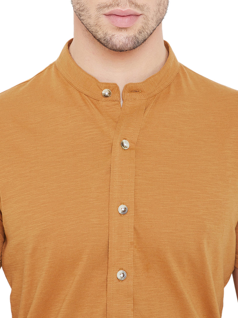 Mustard Men Half Sleeves Band Collar Shirt