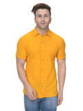 Yellow Waffle Knit Half Sleeves Casual Shirt