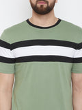 Moss Green/Black/White Half Sleeve Round Neck T-Shirt