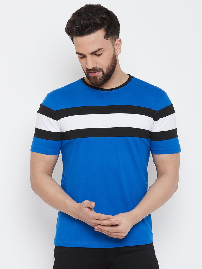 Blue/Black/White Half Sleeve Round Neck T-Shirt