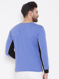 Blue/White/Black Color Block Men's Full Sleeves Round Neck T-Shirt