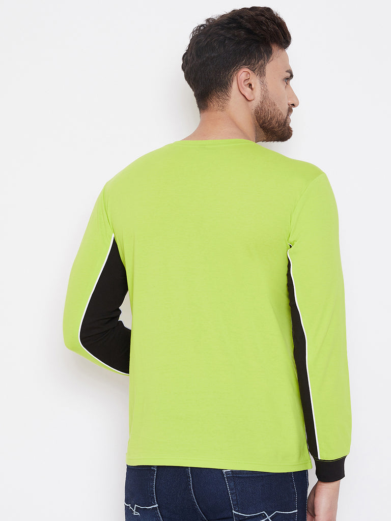 Neon Green/White/Black Color Block Men's Full Sleeves Round Neck T-Shirt