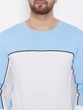 Sky Blue/Black/White Color Block Men's Full Sleeves Round Neck T-Shirt