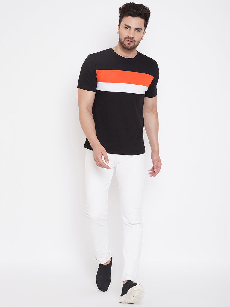 Black/Orange/White Color Block Men's Full Sleeve Round Neck T-Shirt