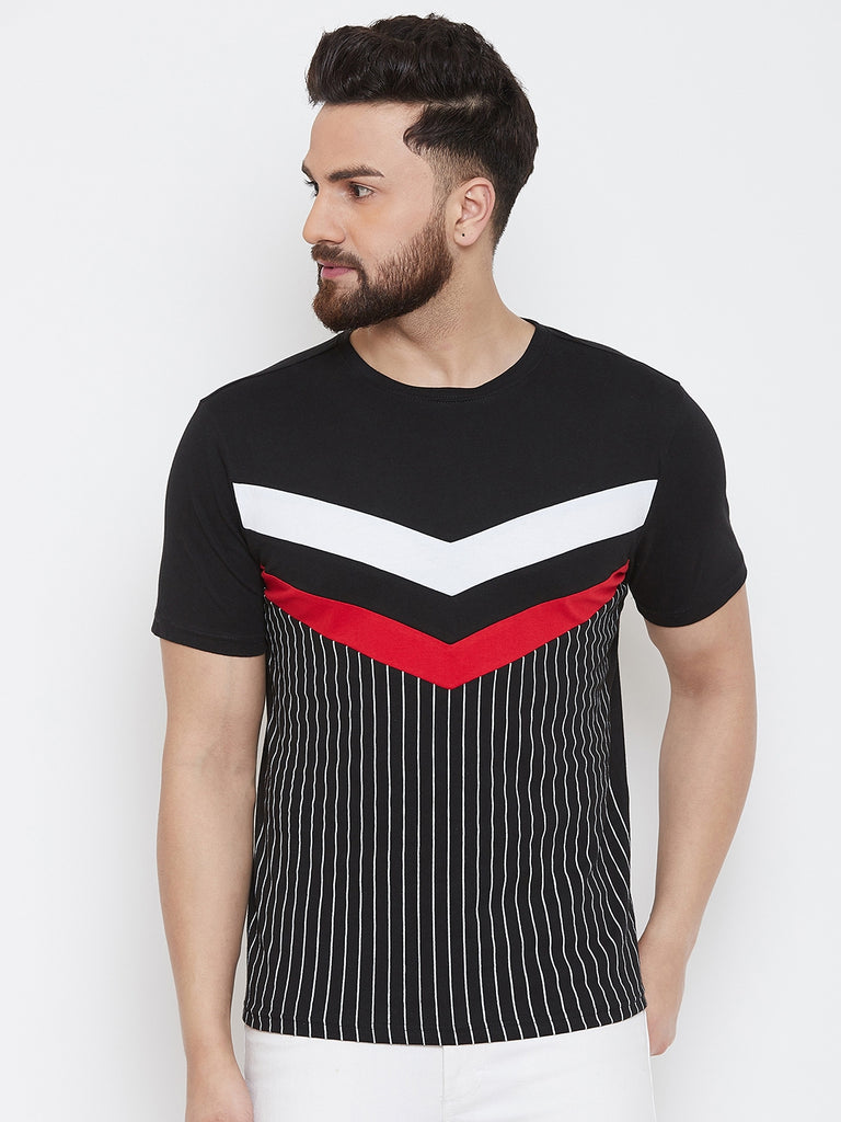 Black/White/Red Half Sleeve Round Neck Striper T-Shirt