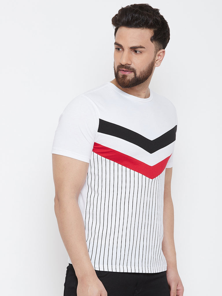 White/Red Half Sleeve Round Neck Striper T-Shirt