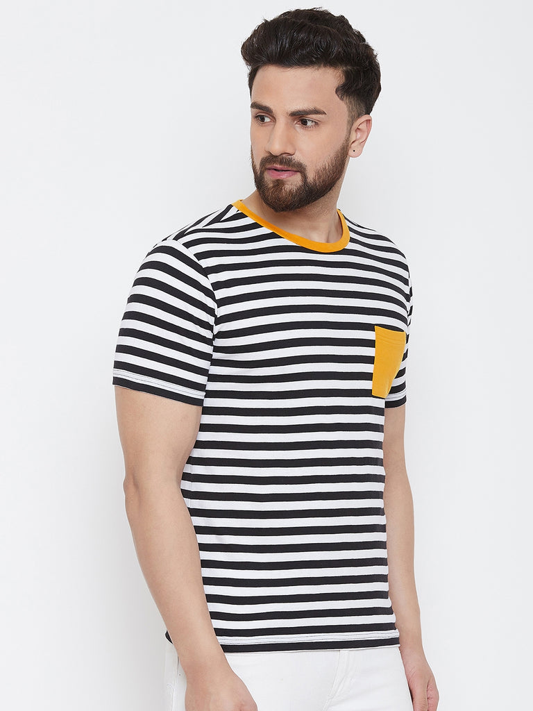 Black/White Half Sleeve Round Neck Striper T-Shirt