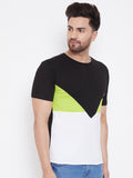 Black/Neon Green/White Color Block Men's Full Sleeve Round Neck T-Shirt