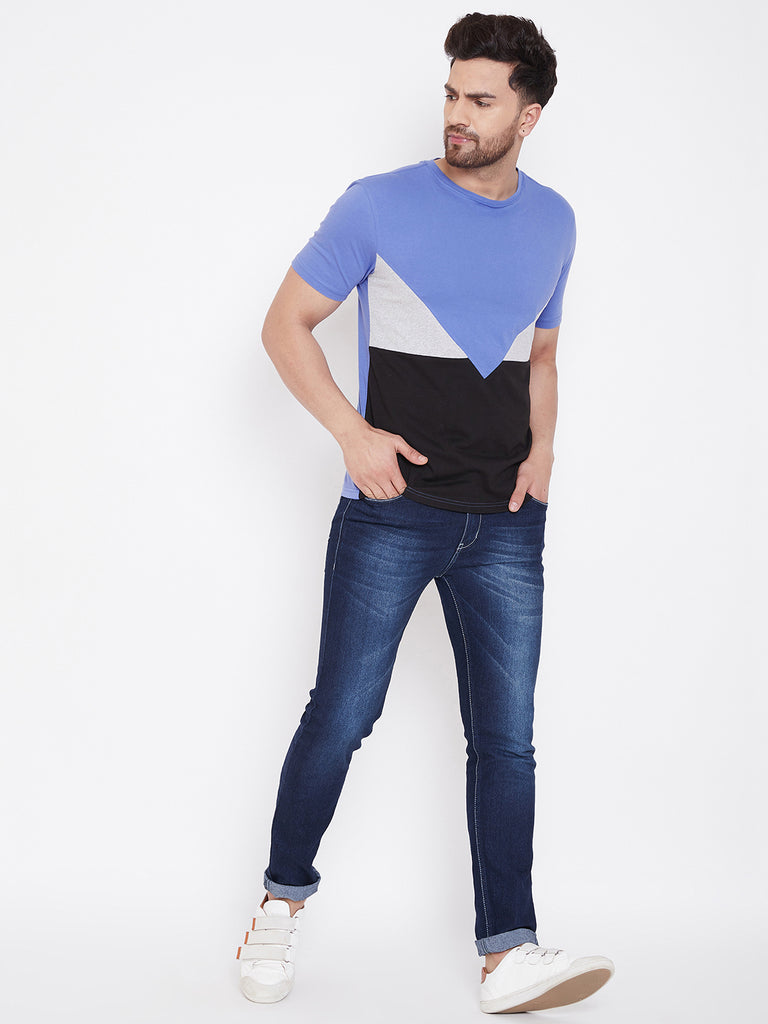 Blue/Grey Melange/Black Color Block Men's Full Sleeve Round Neck T-Shirt