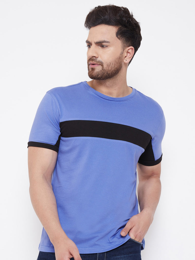 Blue/Black Color Block Men's Full Sleeve Round Neck T-Shirt