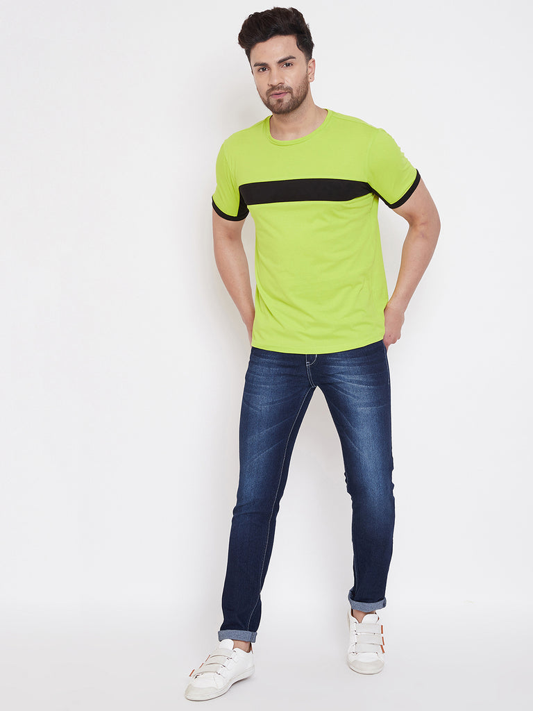 Neon Green/Black Color Block Men's Full Sleeve Round Neck T-Shirt