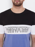 Black/White/Blue Printed Men's Half Sleeves Round Neck T-Shirt