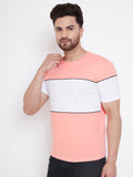 Coral/White/Black Men's Half Sleeves Round Neck T-Shirt