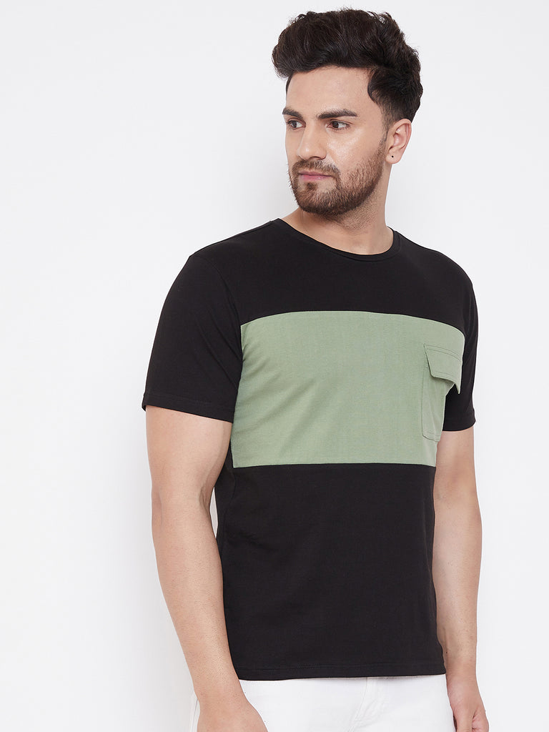 Black/Moss Green Men's Half Sleeves Round Neck T-Shirt