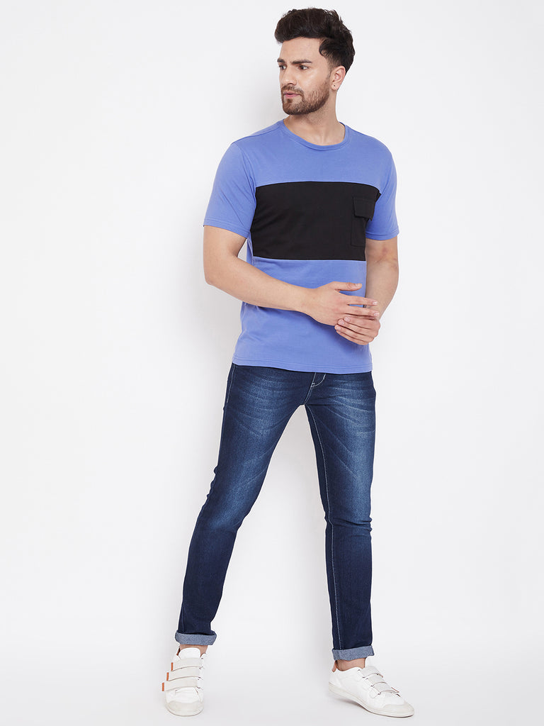 Blue/Black Men's Half Sleeves Round Neck T-Shirt