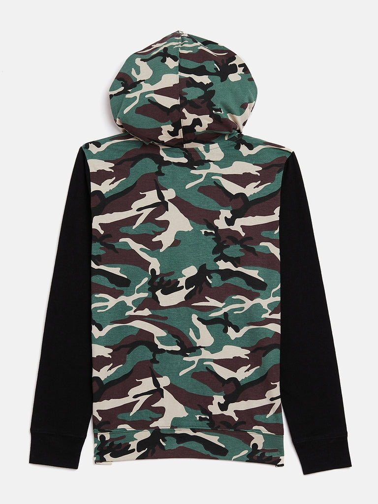 Army/Balck Kids Full Sleeves Army Printed Hooded T-Shirt