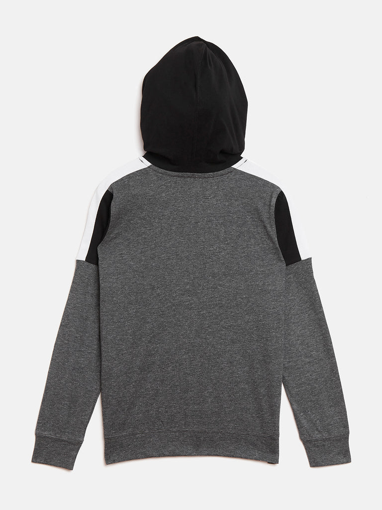 Anthramelange/Black/White Kids Full Sleeves Color Block Hooded T-Shirt