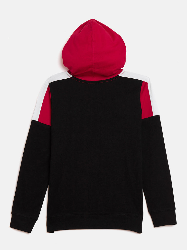Black/Red/White Kids Full Sleeves Color Block Hooded T-Shirt