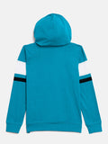 Trquoise/White/Black Kids Full Sleeves Color Block Hooded T-Shirt