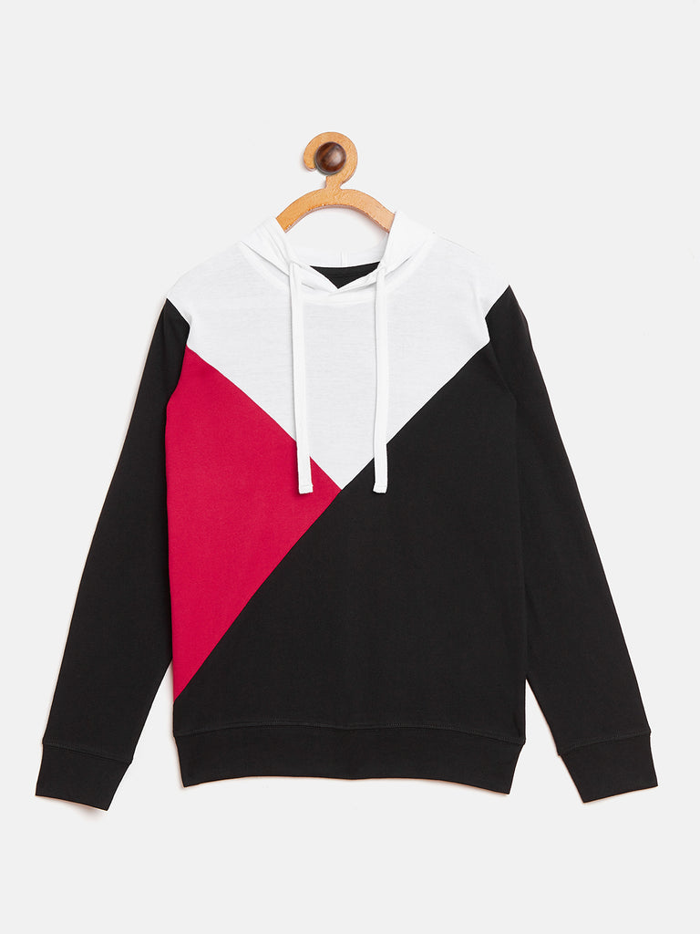 Black/White/Red Kids Full Sleeves Color Block Hooded T-Shirt