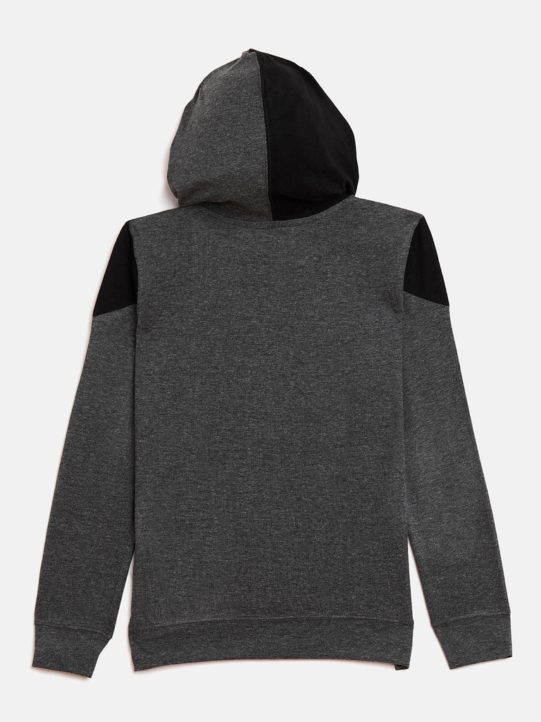 Anthramelange/Black Kids Full Sleeves Color Block Hooded T-Shirt