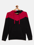 Black/Red Kids Full Sleeves Color Block Hooded T-Shirt