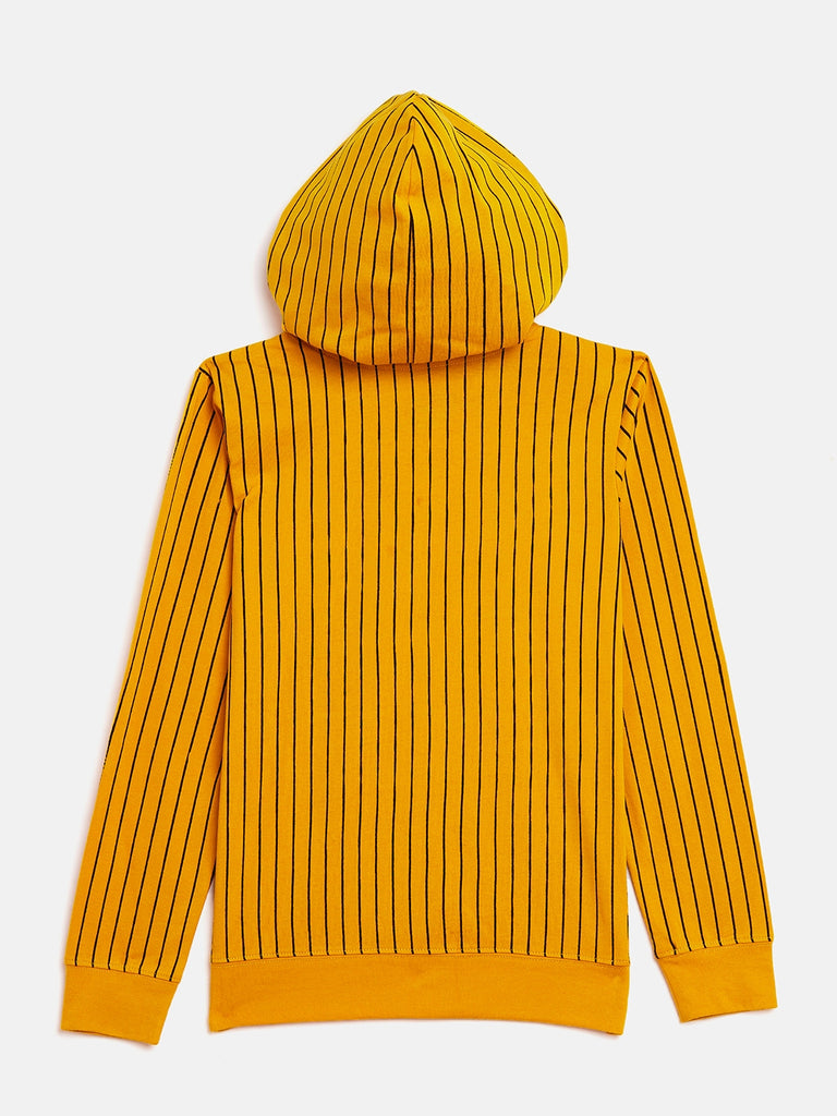 Yellow Kids Full Sleeves Printed Hooded T-Shirt