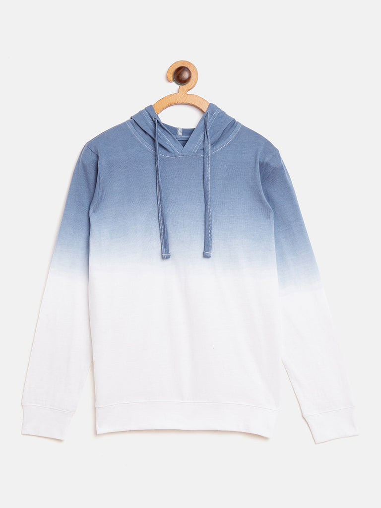 White/Blue Kids Full Sleeves Ombre Dyeing Hooded T-Shirt