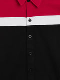 Black/Red/White Kids Full Sleeves Color Block Shirt