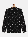 Black Kids Full Sleeves Band Collar Printed Shirt