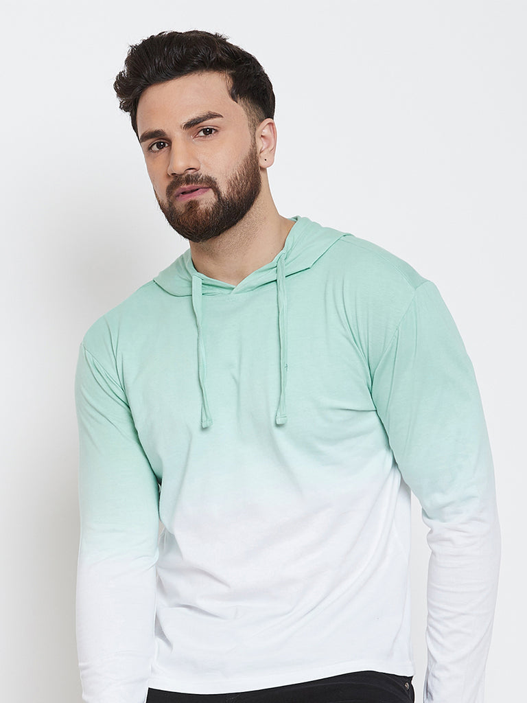 White Tie Dye Full Sleeve Hooded T-Shirt
