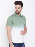 White/Moss Green Men's Cotton Tie & Dye Half Sleeves Shirt