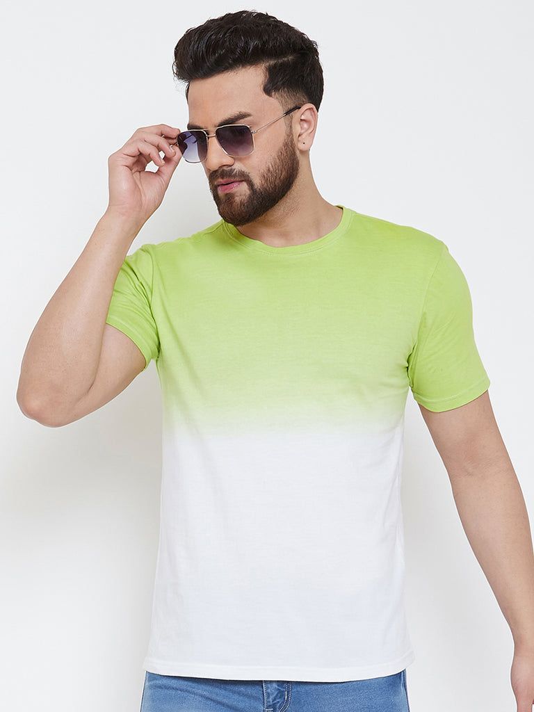 White/Green Half Sleeve Round Neck T-Shirt