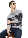 Grey Melange Men Full Sleeves Cowl Neck T-Shirt